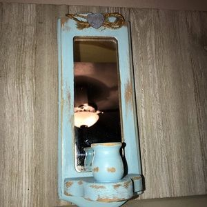 Shabby chic distressed candlestick holder mirror